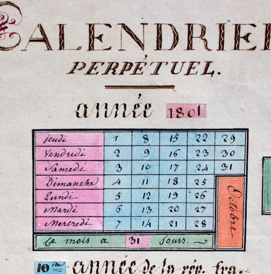 Conversion Calendrier Republicain Gregorien.Rare Calendrier Perpetuel Revolutionnaire Manuscrit