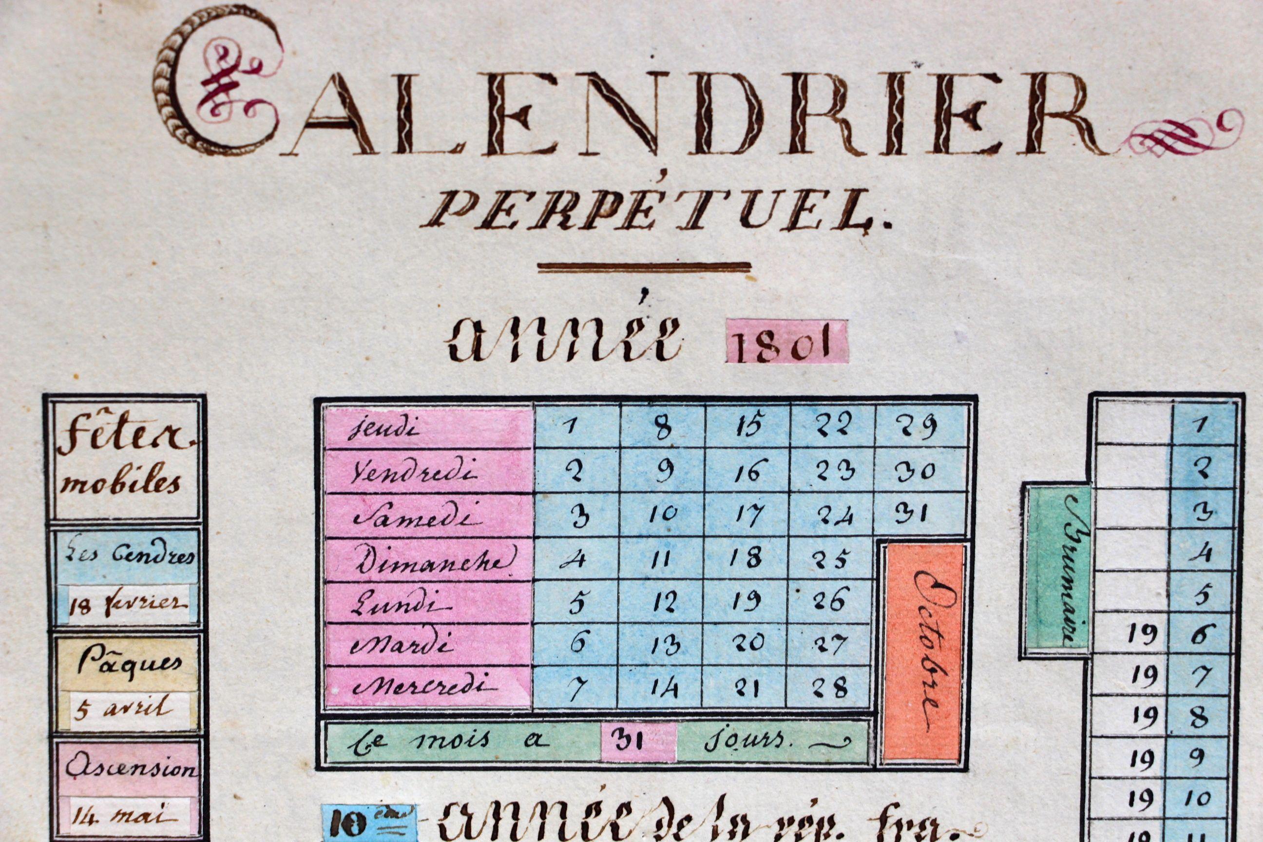Calendrier Revolutionnaire Conversion.Rare Calendrier Perpetuel Revolutionnaire Manuscrit